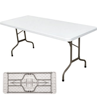 table poly thyl ne blanche pieds pliants 180cm harik equipements. Black Bedroom Furniture Sets. Home Design Ideas