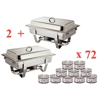 Chafing Dish GN 1/1 Inox (lot de 2 et 72 capsules combustibles)
