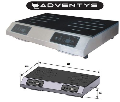 Plaque Induction Geoline 2 foyers de 3000W ADVENTYS GL2 6000 S (650x405xH96mm)
